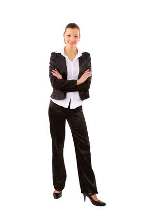 portrait of a pretty young business woman standing isolated on white background Stock Photo - 11669496