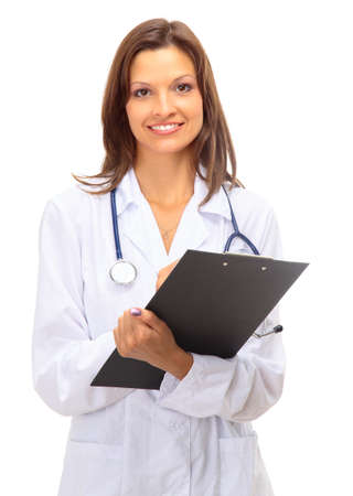 nurse uniform: Portrait of happy successful mature female doctor holding a writing pad