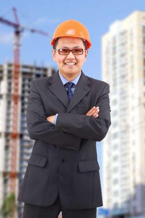 handsome architect. Isolated over white background  photo
