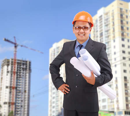 structural engineers: handsome architect. Isolated over white background
