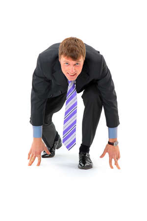 starting a business: Businessman on starting line isolated over white background  Stock Photo