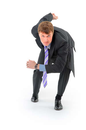 willingness: Businessman on starting line isolated over white background  Stock Photo
