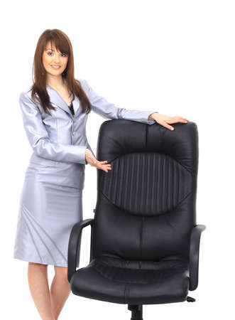 contemporary office chair and businesswoman photo