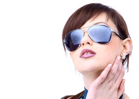 Beautiful woman in the black fashion sunglasses  photo