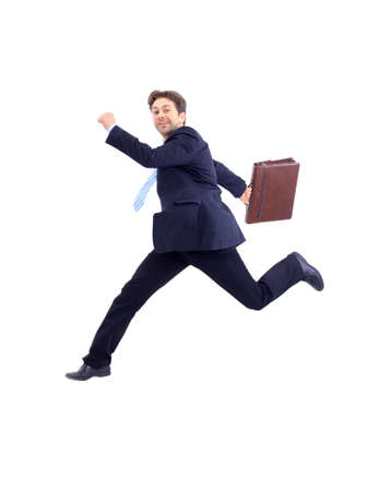 Isolated attractive business man running away from someone  photo