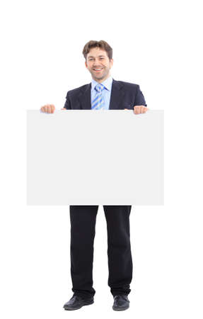 ad sign: Businessman holding a banner ad isolated on white