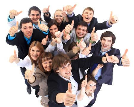 woman on top: Large group of business people. Over white background  Stock Photo