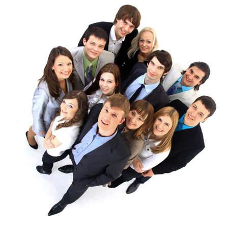 frendship: Large group of business people. Over white background  Stock Photo