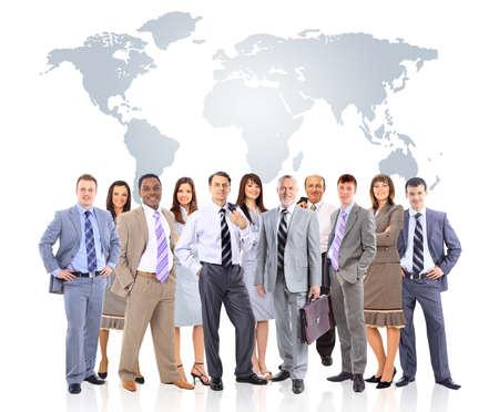 ビジネスの人々 は世界地図とチームします。 写真素材
