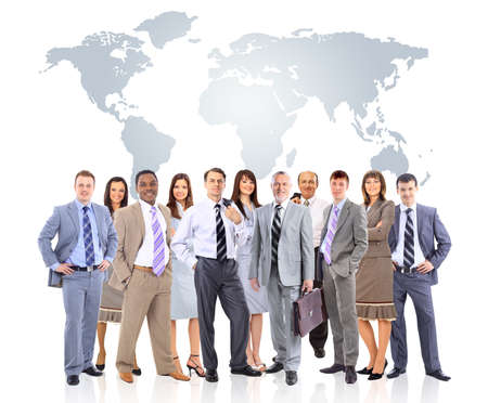 business woman standing: business people team with world map