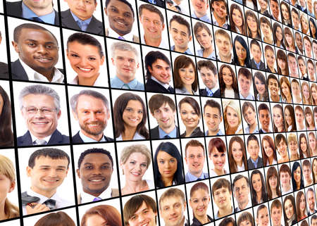 business collage: Many the isolated portraits of people  Stock Photo