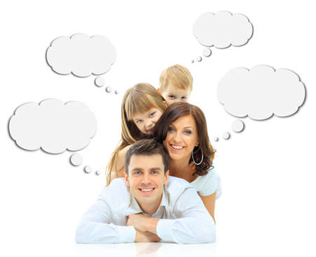dream home: Happy family isolated on white background