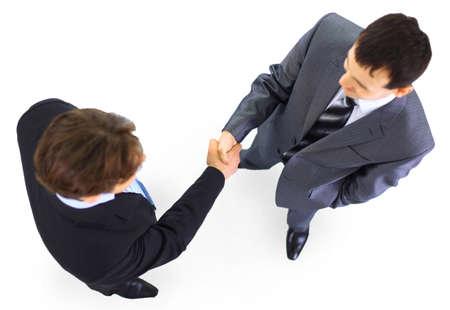senior business man: handshake isolated on white background