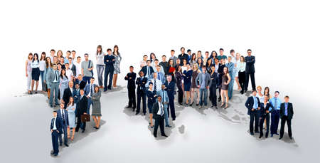 business collage: business people team with world map