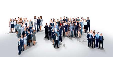 población: la gente de negocios del equipo con el mapa del mundo