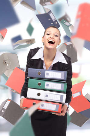 woman with folders  photo