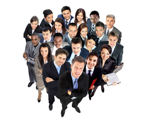 top: Top view of a group of business people