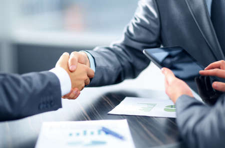 technology deal: Business handshake Stock Photo