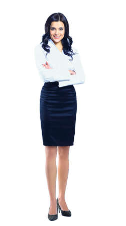 woman in white: Business woman standing in full length isolated on white background