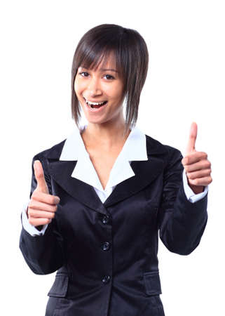 Success woman isolated giving thumbs up sign photo