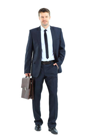 portrait of young business man holding briefcase in hand isolated on white  photo