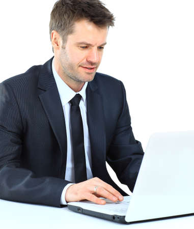 happy young man: Portrait of young confident business man with laptop