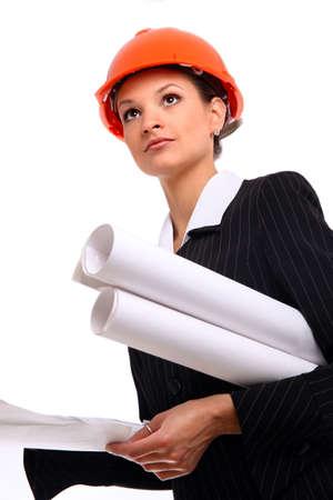 Female architect holding blueprints Stock Photo - 22162323