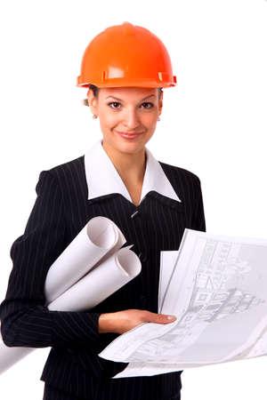 Female architect holding blueprints Stock Photo - 22162324