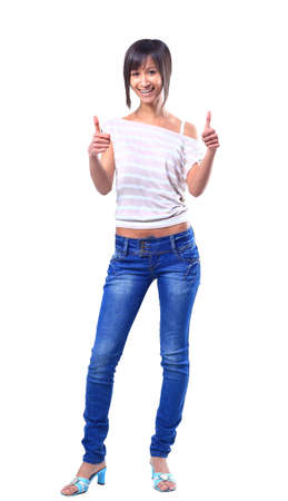 Closeup portrait of a beautiful young woman showing thumbs up sign photo