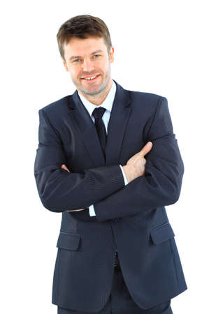 Portrait of a successful mature business man standing with folded hand on white background Stock Photo - 22145739