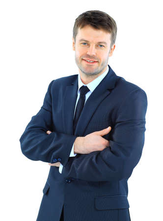 Portrait of a successful mature business man standing with folded hand on white background Stock Photo - 22162579