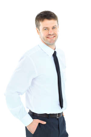 Smiling business man  Isolated over white background Stock Photo - 22145748
