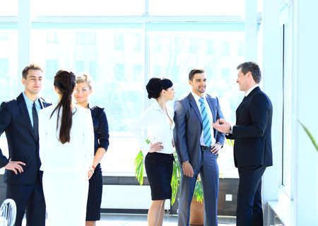 corporate group: Businesspeople Having Meeting In Modern Office Stock Photo