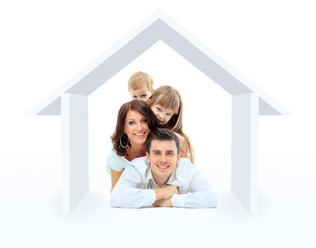 family isolated on white: Beautiful family in a house - isolated over a white background