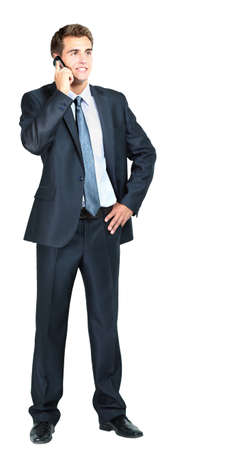 businessman standing: portrait of business man with mobile phone