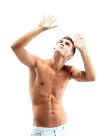 niño sin camisa: hombre musculoso Foto de archivo