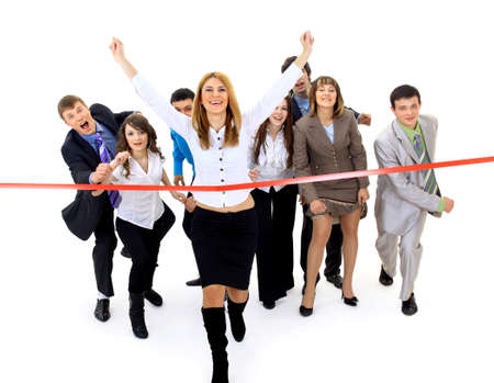 win: Businesspeople crossing the finish line
