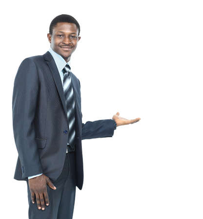 Business man showing something on the palm of his hand photo