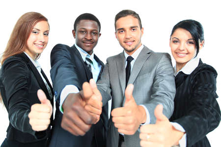 Business group with thumbs up isolated over white background photo