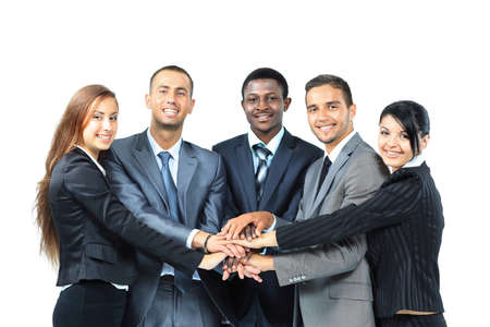 black business men: A diverse group of business workers with their hands together in form of teamwork