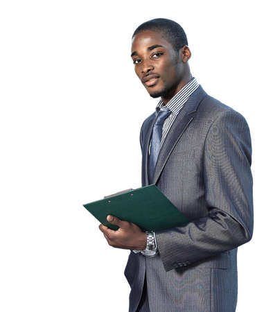Portrait of a satisfied young African American business man with hands folded on white photo