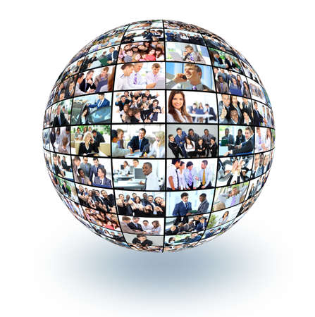 marketing team: A globe is isolated on a white background with many different business people
