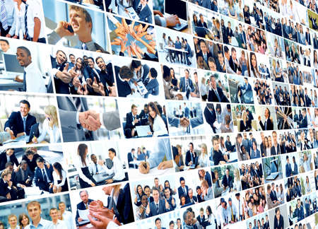 technology collage: Business collage made of some business pictures Stock Photo
