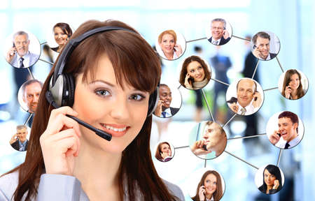 telemarketer: A group of people talking on the phone