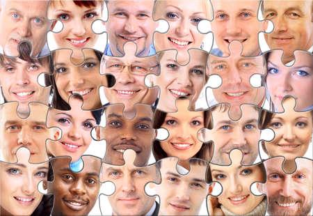 grupo de personas: rompecabezas de fondo abstracto con la cara