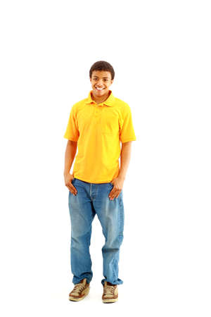 sholders: Natural Looking Smiling Young African American Male Model on Isolated Background  Stock Photo