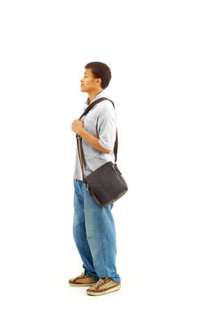 Happy Casual Dressed Young Black College Student Isolated on White Background  photo
