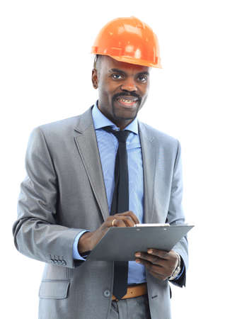 Confident ethnic architect wearing a hardhat against a white background