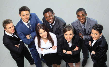 ethnic: Top view of business people with their hands together