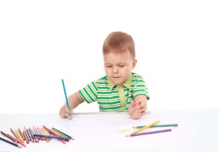 soft tip pen: The little boy draws color pencils